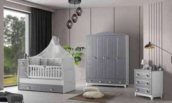 Evmoda Mobilya - Grey Bebek Odası Takımı