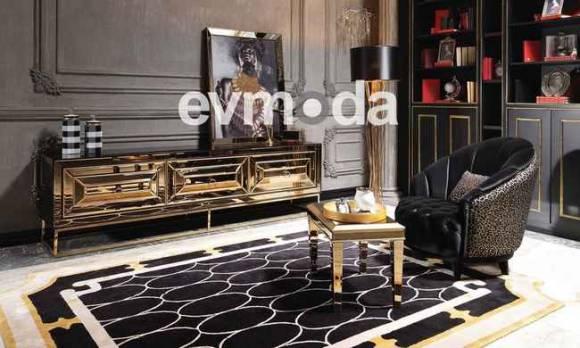 Evmoda Mobilya - Gucci Black Gold Tv Ünitesi