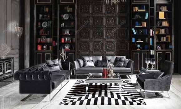 Evmoda Mobilya - Gucci Black Silver Koltuk Takımı