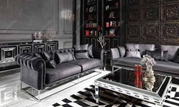 Evmoda Mobilya - Gucci Black Silver Koltuk Takımı (1)