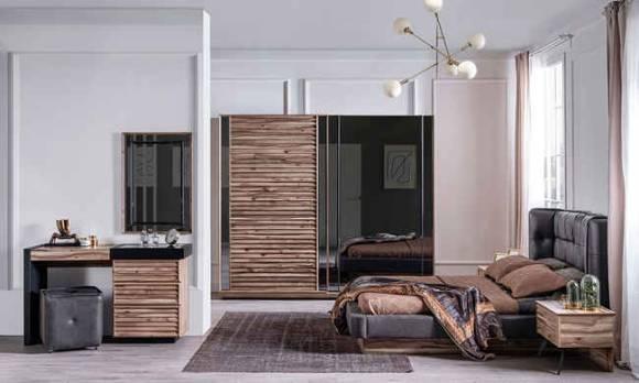 Evmoda Mobilya - Güneş Ceviz Modern Yatak Odası Takımı