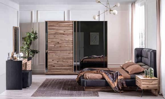 Evmoda Mobilya - Güneş Ceviz Modern Yatak Odası Takımı (1)