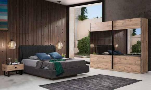 Evmoda Mobilya - Hedef Ceviz Modern Yatak Odası Takımı