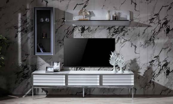Evmoda Mobilya - Lion Krom Modern Tv Ünitesi