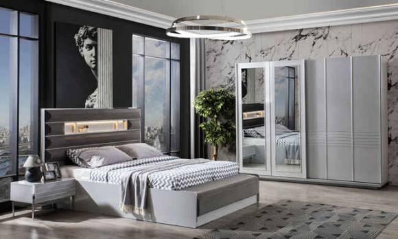 Evmoda Mobilya - Lion Krom Modern Yatak Odası Takımı