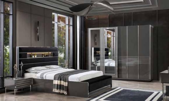 Evmoda Mobilya - Lion Gri Modern Yatak Odası Takımı