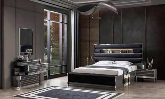 Evmoda Mobilya - Lion Gri Modern Yatak Odası Takımı (1)
