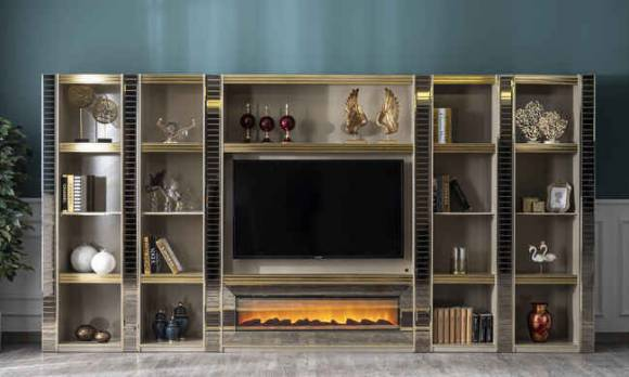 Evmoda Mobilya - Majestik Modern Şömineli Tv Ünitesi