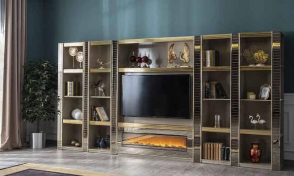 Evmoda Mobilya - Majestik Modern Şömineli Tv Ünitesi (1)