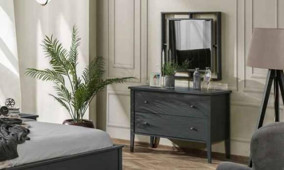 Evmoda Mobilya - Marsella Grey Şifonyer ve Aynası