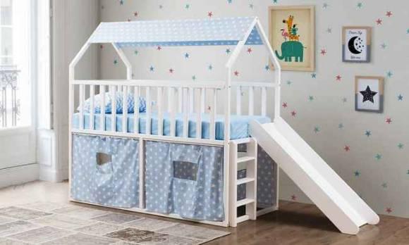 Evmoda Mobilya - Montessori Oyun Evi Kaydıraklı Mavi