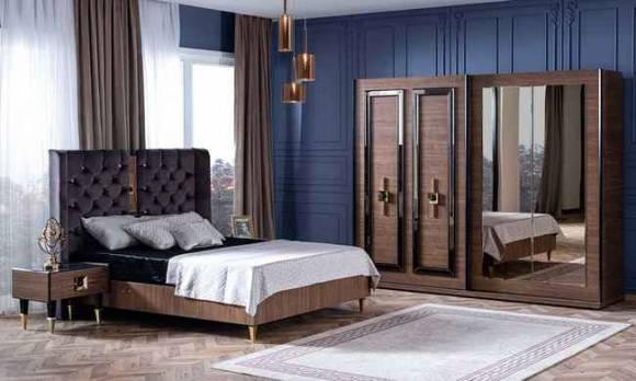 Evmoda Mobilya - Paris Ceviz Art Deco Yatak Odası Takımı