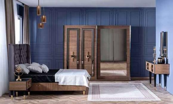 Evmoda Mobilya - Paris Ceviz Art Deco Yatak Odası Takımı (1)
