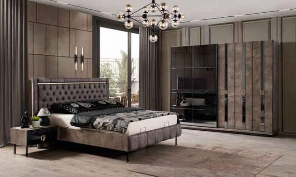 Evmoda Mobilya - Polo Siyah Art Deco Yatak Odası Takımı