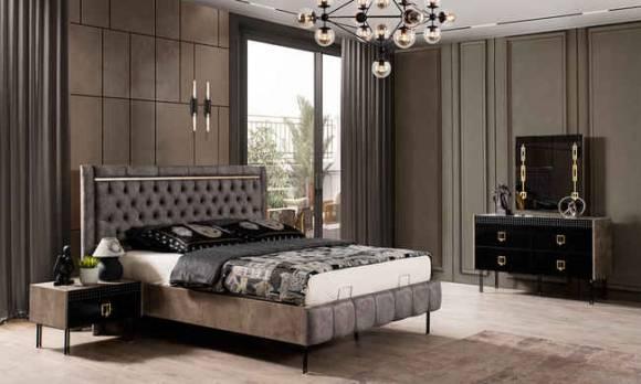 Evmoda Mobilya - Polo Siyah Art Deco Yatak Odası Takımı (1)