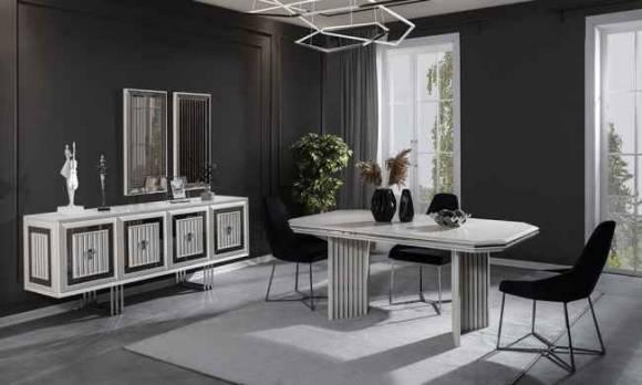 Evmoda Mobilya - Rubens Beyaz Modern Yemek Odası Takımı