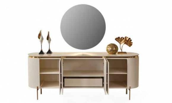 Evmoda Mobilya - Sandra Krem Konsol ve Aynası (1)