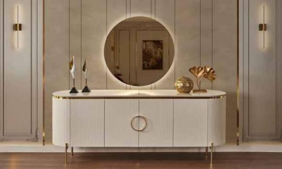 Evmoda Mobilya - Sandra Krem Konsol ve Aynası