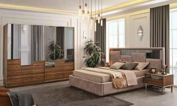 Evmoda Mobilya - Sienal Ceviz Modern Yatak Odası Takımı