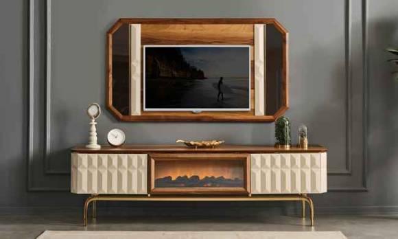 Evmoda Mobilya - Sinry Modern Şömineli Tv Ünitesi