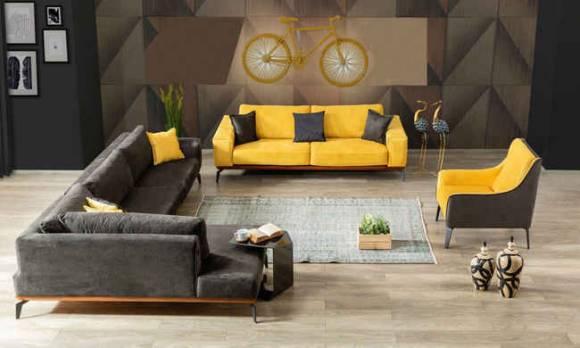 Evmoda Mobilya - Sofa Best Sarı Modern Köşe Takımı