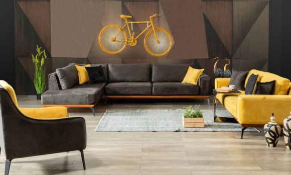 Evmoda Mobilya - Sofa Best Sarı Modern Köşe Takımı (1)