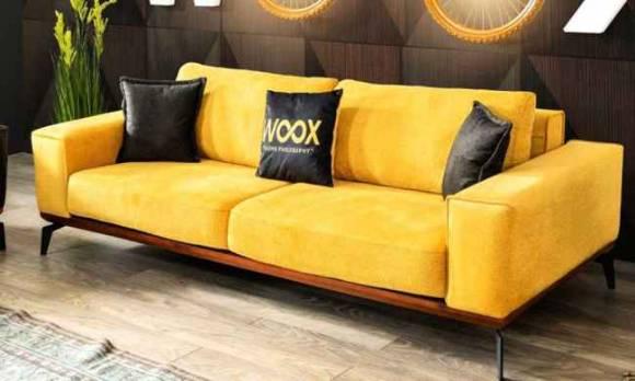 Evmoda Mobilya - Sofa Best Sarı Üçlü Koltuk