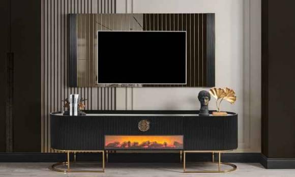 Evmoda Mobilya - Stone Modern Şömineli Tv Ünitesi
