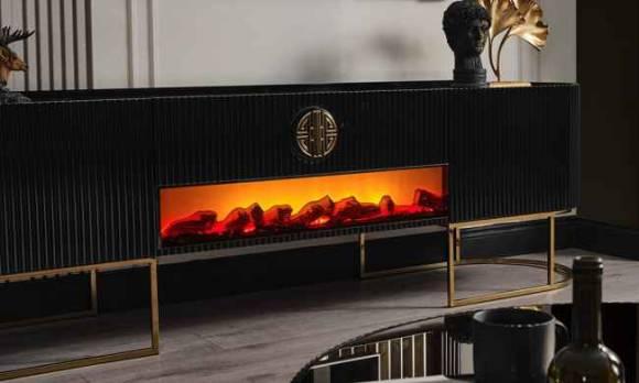 Evmoda Mobilya - Stone Modern Şömineli Tv Ünitesi (1)