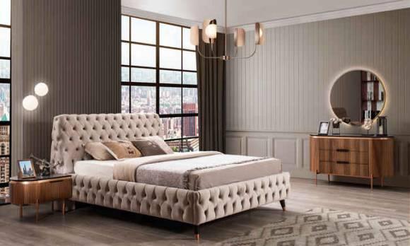 Evmoda Mobilya - Tesla Ceviz Art Deco Yatak Odası Takımı (1)