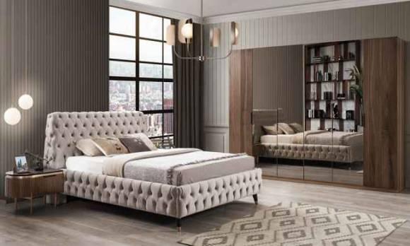 Evmoda Mobilya - Tesla Ceviz Art Deco Yatak Odası Takımı