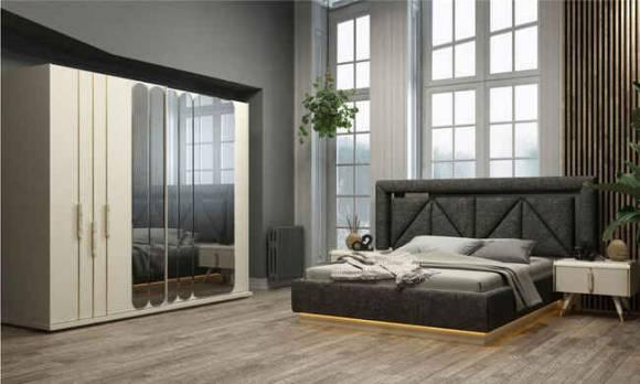 Evmoda Mobilya - Tetra Beyaz Modern Yatak Odası Takımı