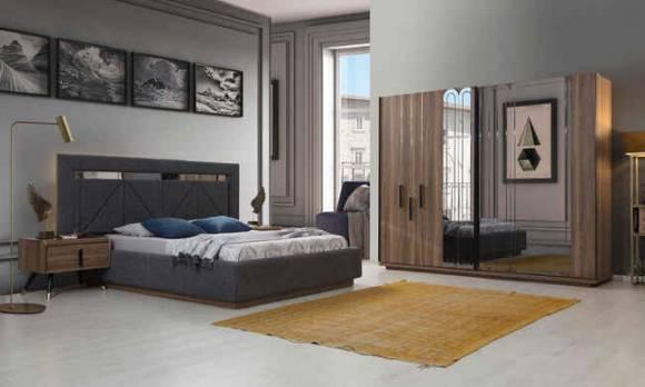 Evmoda Mobilya - Tetra Ceviz Modern Yatak Odası Takımı