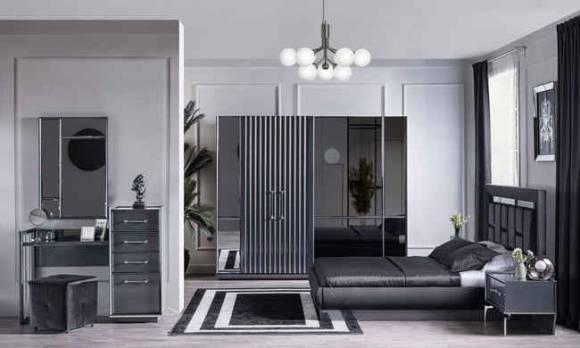 Evmoda Mobilya - Titanyum Modern Yatak Odası Takımı