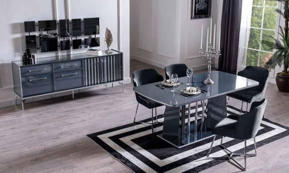 Evmoda Mobilya - Titanyum Modern Yemek Odası Takımı (1)