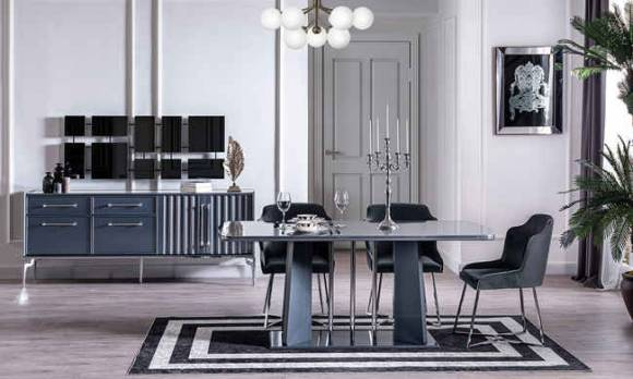Evmoda Mobilya - Titanyum Modern Yemek Odası Takımı