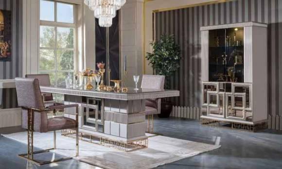 Evmoda Mobilya - Valeria Art Deco Yemek Odası Takımı (1)