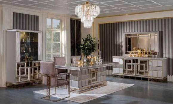 Evmoda Mobilya - Valeria Art Deco Yemek Odası Takımı