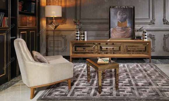 Evmoda Mobilya - Versace Gold Art Deco Tv Ünitesi