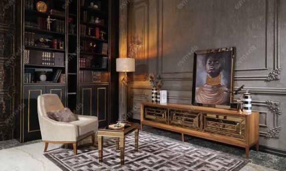 Evmoda Mobilya - Versace Gold Art Deco Tv Ünitesi (1)