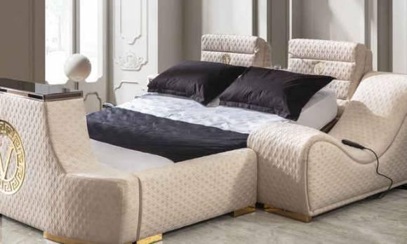 Evmoda Mobilya - Versace Gold Tv Mekanizmalı + Masajlı Karyola (1)