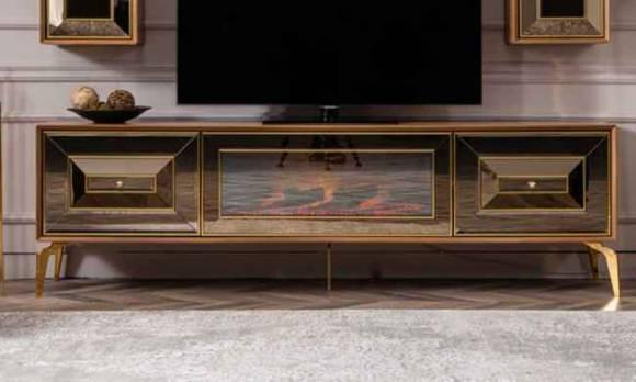 Evmoda Mobilya - Vessan Modern Şömineli Tv Sehpası