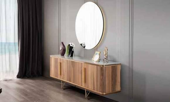 Evmoda Mobilya - Vogue Ceviz Konsol ve Aynası (1)