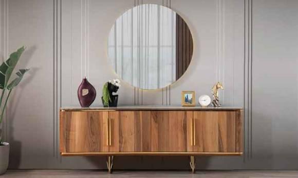 Evmoda Mobilya - Vogue Ceviz Konsol ve Aynası