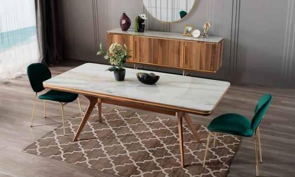 Evmoda Mobilya - Vogue Ceviz Yemek Masası